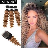 Mechones de cabello humano Spark Peruvian, mechones de cabello con cierre, cabello suelto ondulado con mechones, proporción media, cabello humano Remy