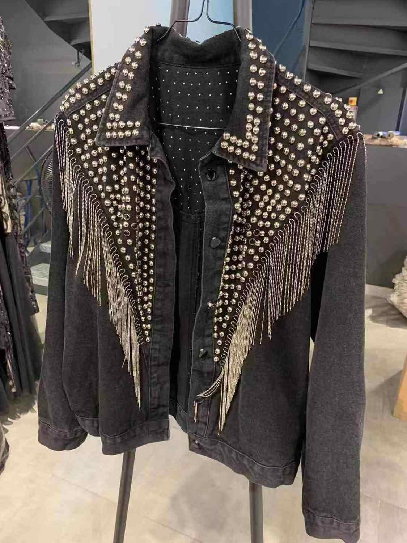 여성 데님 자켓 금속 겨울 자켓 여성 스터드 streetwear 여성 자켓 및 코트 겨울 코트