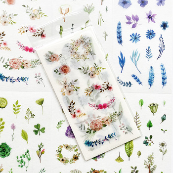 6 Sheets/Pack Cute Plants In Summer Paper Sticker Notebook Computer Phone DIY Decor Stick Label Kids Gift Stationery - discount item  5% OFF Stationery Sticker