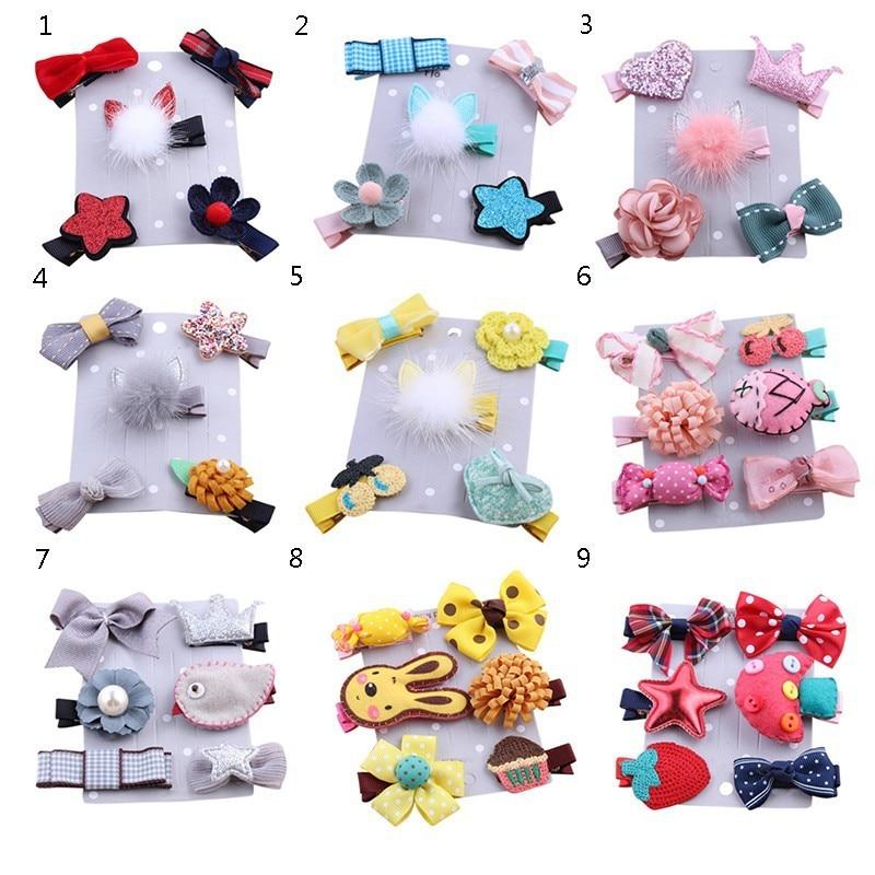 1 Pack 5 Pieces Fashion Cute Baby Girl Hairpin Children Cute Mini Mink Fur Crown Princess Hairpin Hair Accessories Girls Gifts