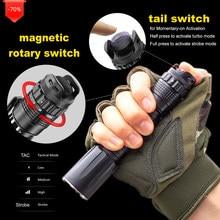 Foxhawk Portable LED Tac Lampe De Poche, Lumineuse Puissante lampe de Poche EDC avec Accès Rapide Tactique Commutateur de Queue, Étanche, 5 Modes