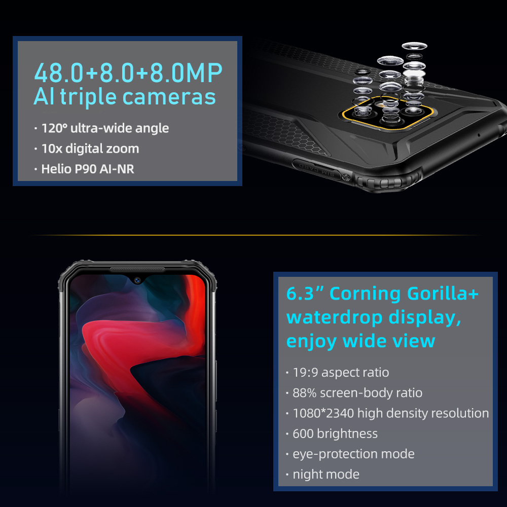 """DOOGEE S95 6GB 128GB shockproof Modular Mobile Phone 6.3"""" Display Octa Core 48MP Triple Camera Android 9.0 Rugged Smartphone"""