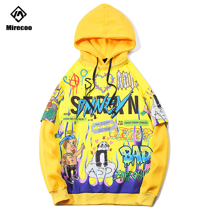 Mirecoo Hoodies Men Printed Funny Hooded Sweatshirt Men Fleece O-Neck Pullover Harajuku High Street Hip Hop Fashion Clothing