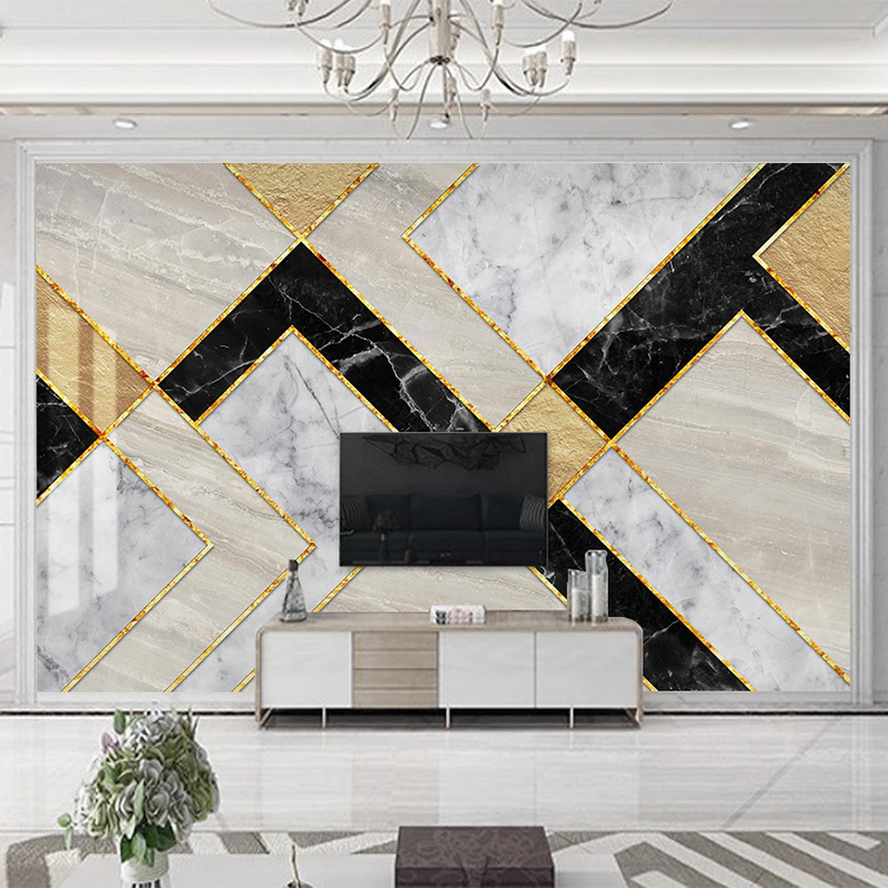 Custom 3D Photo Wallpaper Modern Geometric Marble Waterproof Self-adhesive Mural Wall Paper For Living Room TV Background Decor