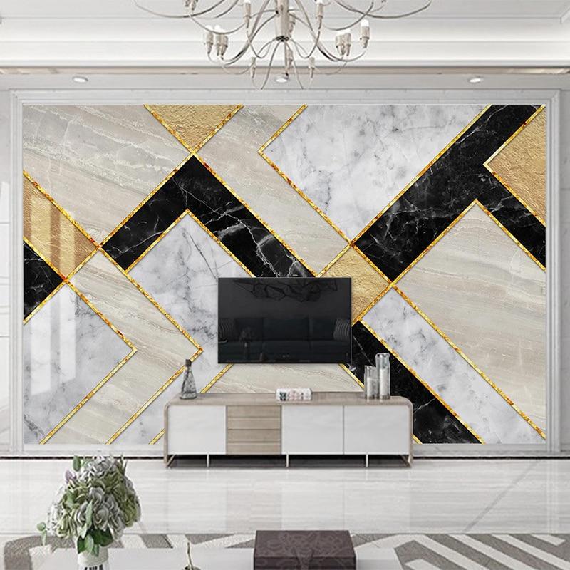 Custom 3D Photo Wallpaper Modern Geometric Marble Waterproof Self-adhesive Mural Wall Paper For Living Room TV Background Decor