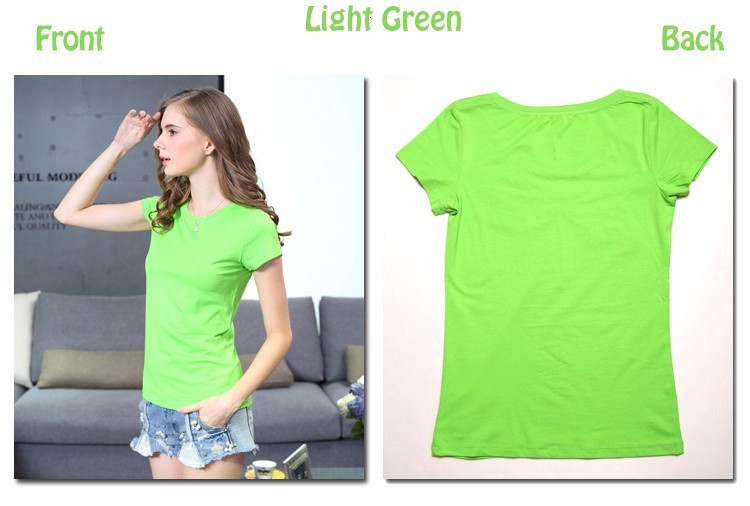 High Quality Plain T Shirt Women Cotton Elastic Basic T-shirts 24