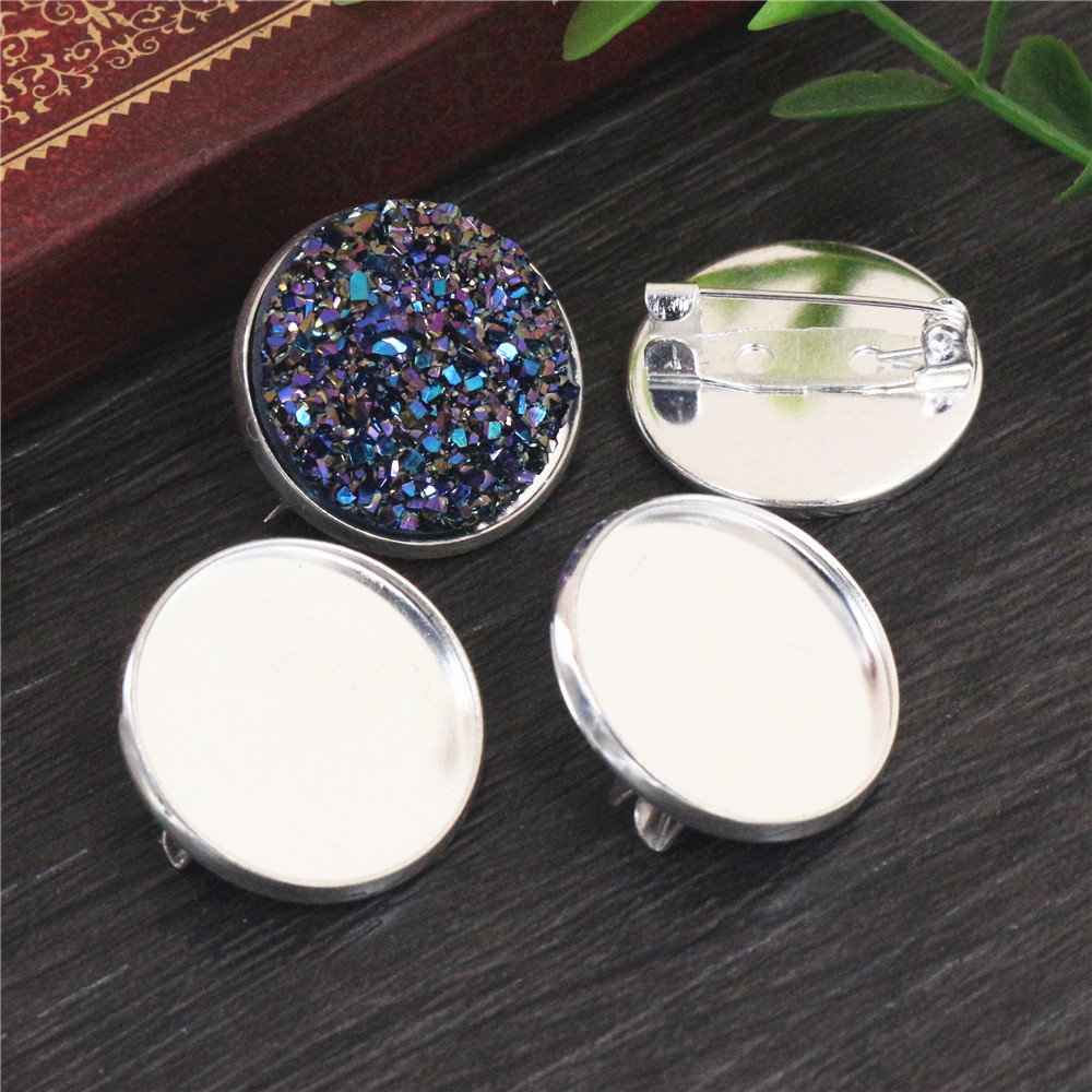 10pcs 20mm Inner Size Bright Silver Copper Material  Brooch Style Cabochon Base Setting Charms Pendant (D3-73)