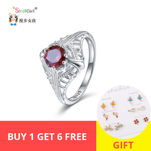 StrollGirl Authentic 925 Sterling Silver Rings Luxurious Red Crystal Engagement Ring With CZ Fashion Jewelry Valentine Gift New стоимость