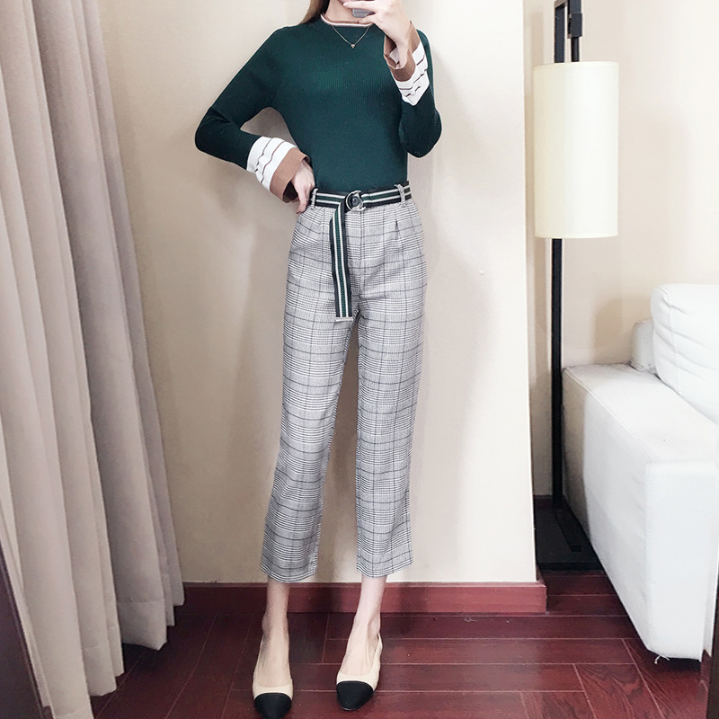 2019 Autumn And Winter New Style Korean-style Women's Elegant Commuting Bell Sleeve Sweater Pencil Pants Two-Piece Set Of Fat 92