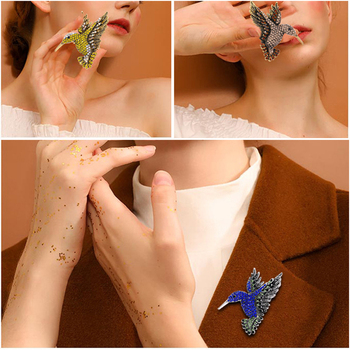 2020 Animal Crystal Brooches Women Colorful Rhinestone Pin Hummingbird Brooch Elegant Decorative Clothing Accessories Jewelry image
