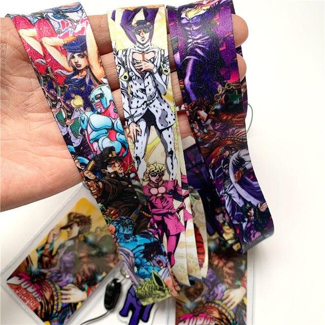 Anime JoJo's Bizarre Adventure Kujo Jotaro Lanyard Neck Straps Holder Pendant Keyring Charms Mobile Phone Cosplay Keychain Gift 3
