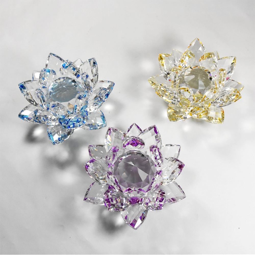 Crystal Lotus Flower 80mm-200mm Crafts Glass Paperweight Ornaments Decoration 1pc Feng Shui Decor Collections