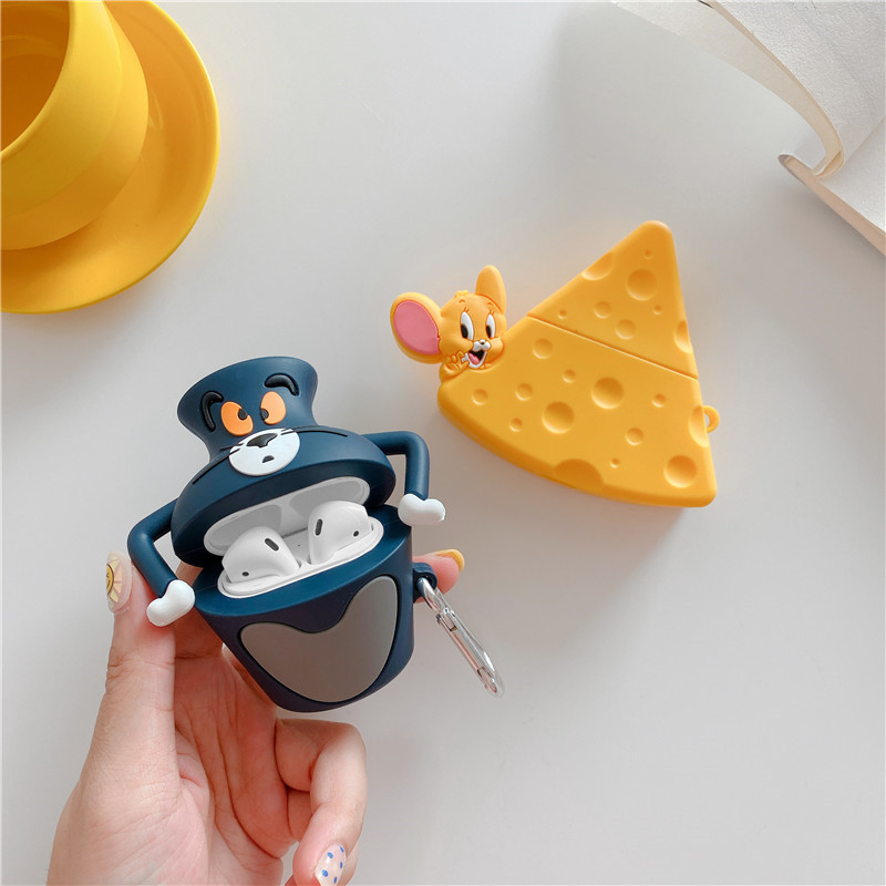 Fashion Cartoon 3D Tom Cat and Jerry Mouse Airpods 2 Case Protective Earphone For Apple Airpods Accessories Silicone Cover Funda