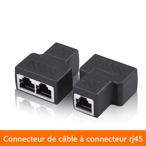 1 To 2 Ways Network LAN Cable Ethernet Female Cat6 RJ45 Splitter Connector Adapter UTP Cat7 5e Conector Switch Adapters Coupler