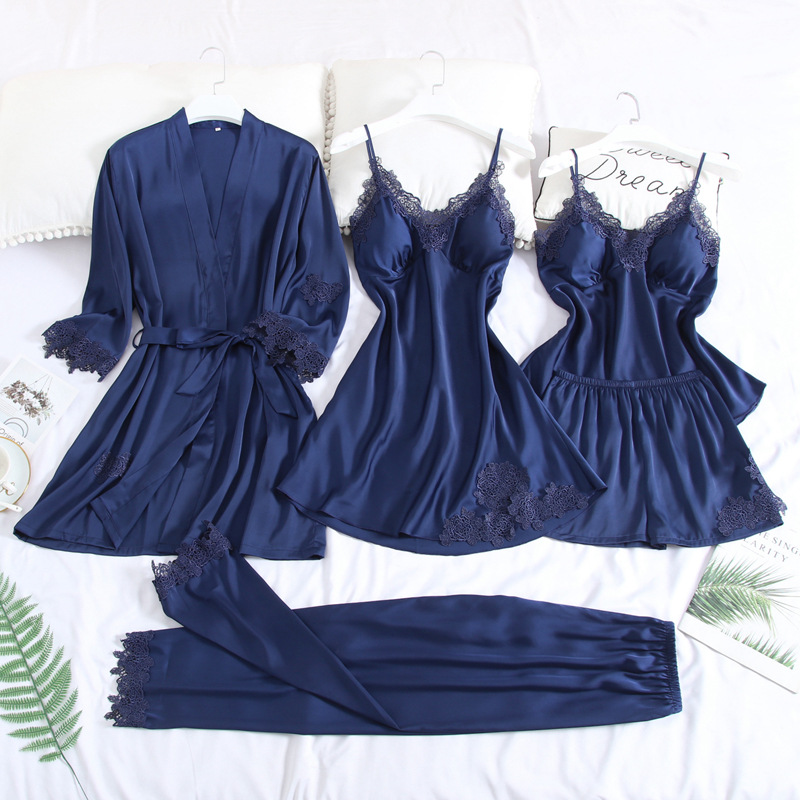 Women Sleepwear 5PCS Sleep Set Lace Home Dressing Gown Satin Nightwear Robe Set Sexy Bride Bridesmaid Wedding Gown Negligee