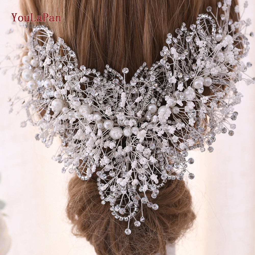 Купить с кэшбэком YouLaPan Wedding Crown Fascinators Multilevel Pearl Rhinestone Wedding Hair Accessories Fancy Wedding Bridal Headpieces HP245