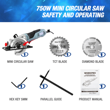 WORKPRO Electric Mini Circular Saw Power Tools 750W Multifunctional Electric Saw With TCT Blade and Diamond Blade Sawing Machine 6