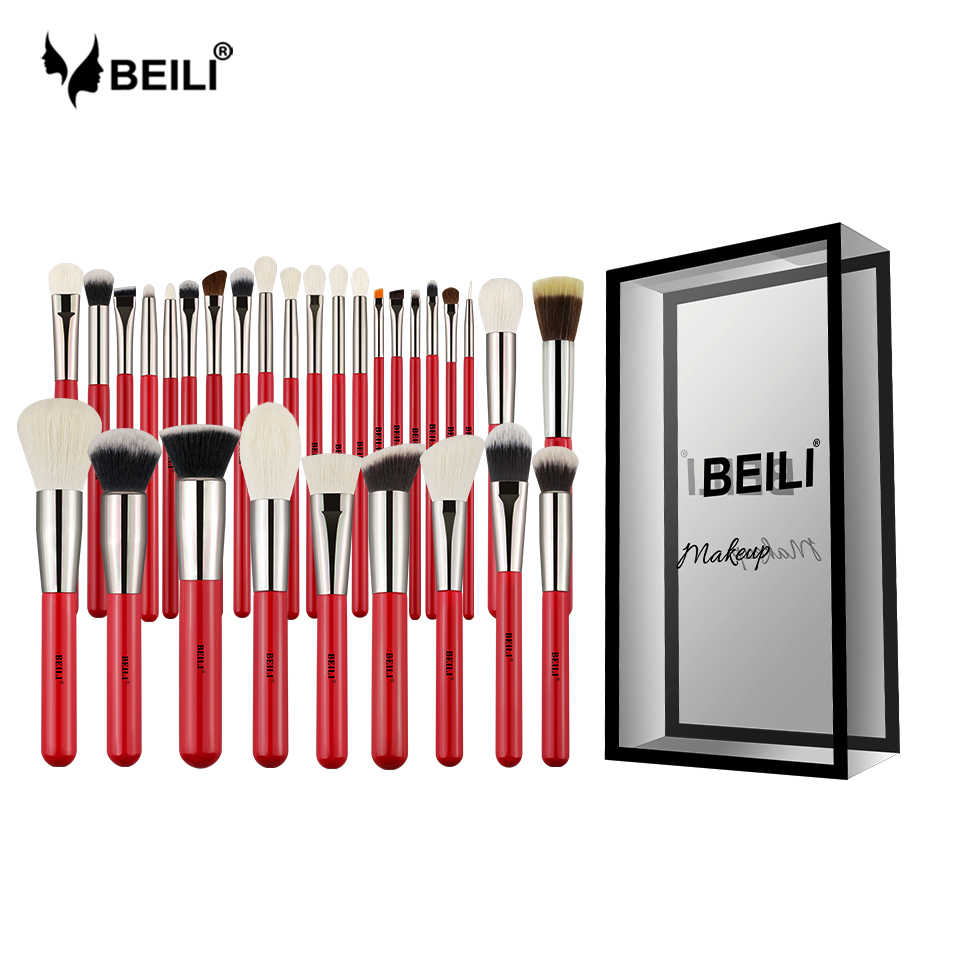BEILI Red 30 sztuk profesjonalny zestaw pędzli do makijażu naturalne włosy Powder Foundation Blusher Eye shadow brow liner Makeup pędzel