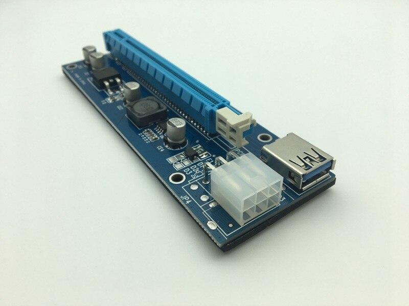 6 pièces 006C PCIe PCI-E PCI Express Carte Riser 1x à 16x USB 3.0 Adaptateur De Câble De données SATA à 4Pin IDE Molex 6 broches pour L'extraction de Bitcoins