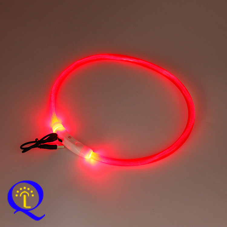 Pet Supplies DIY Multi-color USB Charging Neck Ring LED Shining Dog Ye Quatrend A Generation