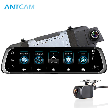 Antcam 4G ADAS Android 10 Car Mirror Video Camera GPS Navigation FHD 1080P Dual Dash Cam Rearview Mirror WiFi Car DVR Recorder image