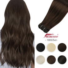 Weft Hair-Bundles Extensions-Machine Human-Hair Remy Sew Moresoo Straight Brazilian