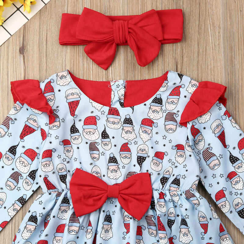 CANIS คริสต์มาสเด็กทารกเสื้อผ้า Santa Bowknot แขนยาว Bowknot Tutu ชุด + Headband Outfits ชุดฤดูใบไม้ร่วง