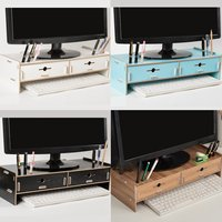 Multi function Ergonomic Computer Screen Desktop Stand Wooden Monitor Laptop TV Riser Holder Wood Shelf Notebook TV Desk Stand
