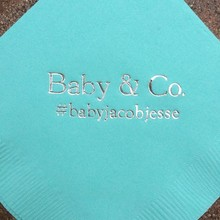 Napkins Foil-Paper Cocktail Luncheon Shower Metallic Avail Baptism Silver Baby Blue Personalize