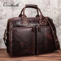 CONTACT'S mężczyźni teczki prawdziwej skóry torba na Laptop biznes Tote dla dokument biuro przenośne męskie torby na ramię jakości Maleta