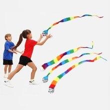 1Pc météore balle arc-en-ciel queue maternelle école sensorielle formation enfants jouet attraper balle en plein air jouet