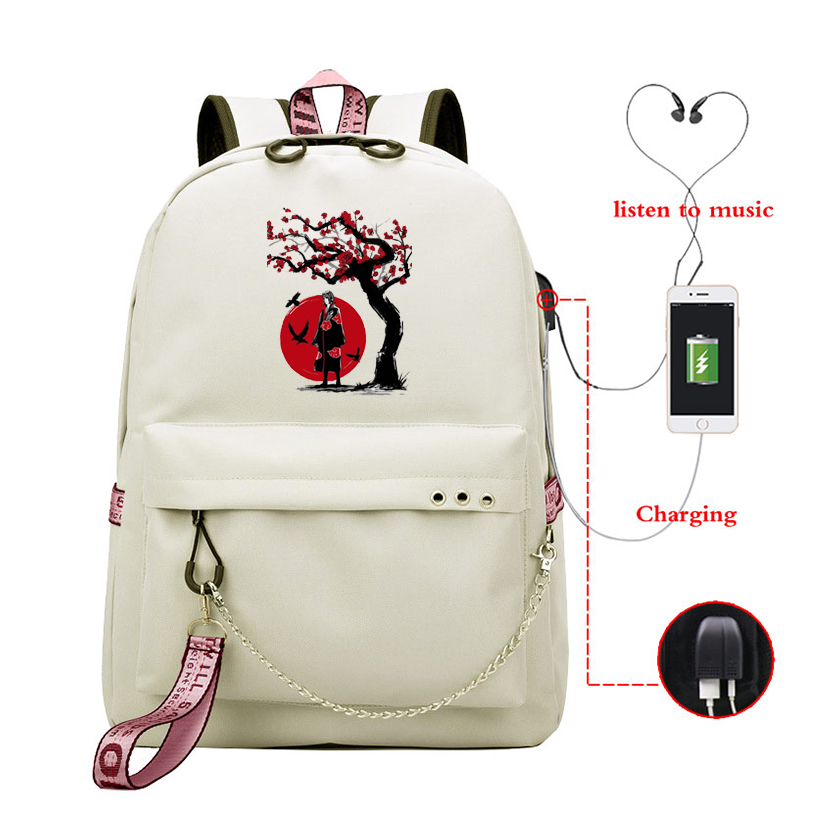 Usb Cable Backpack Women Shoulder Bag Naruto Anime Backpacks Female School Bagpack Bag For Teenage Girl Travel Bookbag Sac A Dos