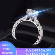 YANHUI Sparkling Female Promise Ring 925 Sterling Silver 1ct Zircon Wedding Band Rings for Women Bridal Statement Party Jewelry