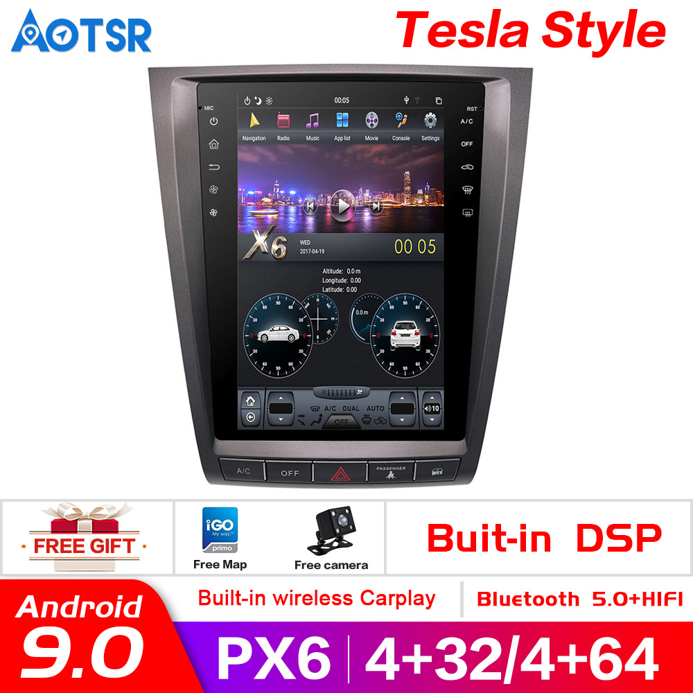 Tesla Style Px6 Android 9.0 4+64G Car GPS Navi Car No DVD Player For Lexus GS GS300 GS460 GS450 GS350 Radio Auto Head Unit  Auto