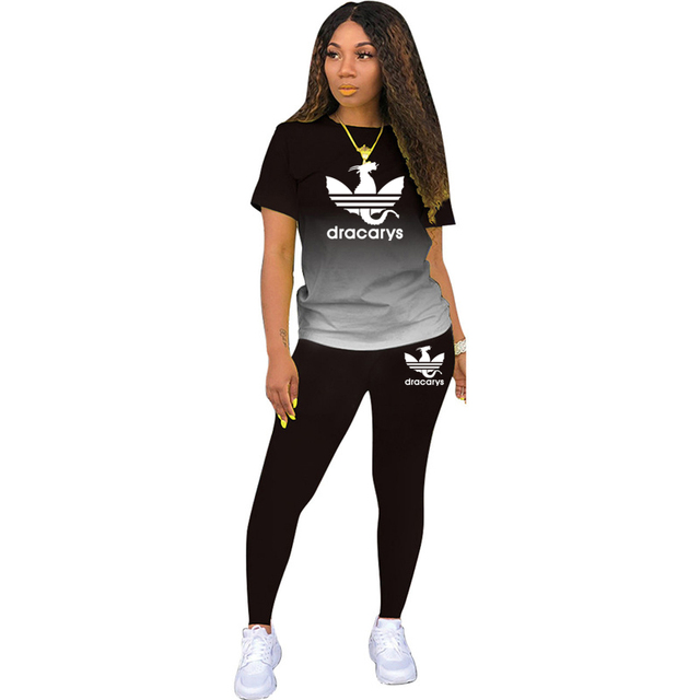 Tracksuits Women 2 Pieces Sets short Sleeve O-Neck Pullover Top Trousers Sportswear Sports Suit Female Clothes Spring 2021 New 2