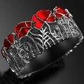 Модные эмалированные металлические серебряные кольца, уникальные изящные ювелирные изделия, шарфы, кольцо с красным цветком с рисунком, по...