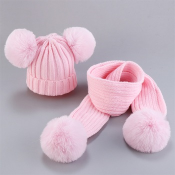 New Cute Baby Hat Scarf Suit Autumn Winter Infant Poms Boy Girl Hat Scarf Set Fur Ball Caps Kids Soft Warm Knitted Hats Beanies 1pc new spring warm cotton baby hat girl boy toddler infant kids caps candy color cute baby beanies accessories