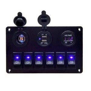 6-кнопочный автомобильный морской катер, светодиодная контурная клавишная панель с двойным USB зарядным устройством, Синий светодиодный вод...