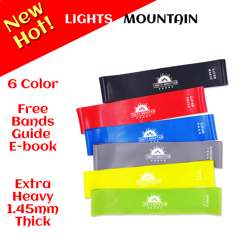 1.45mm-0.45mm Resistance Bands 6 Colors Pilates Yoga Sport Training Workout Elastic Mini Band