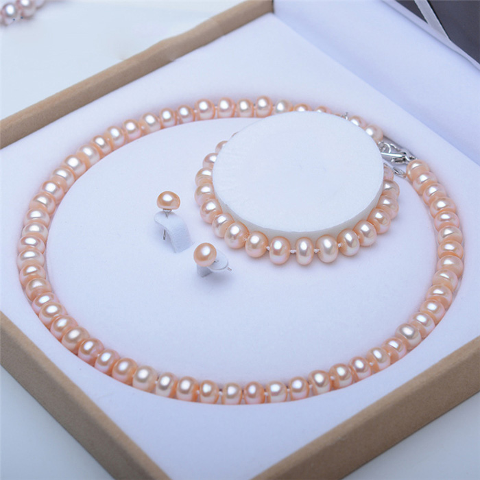 H47b2d51ff9c246a2bcc061bec908dde1l - Pearl Jewelry Sets Genuine Natural Freshwater Pearl Set 925 Sterling Silver Pearl Necklace Earrings Bracelet For Women Gift SPEZ