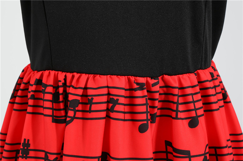 Hudobné párty šaty s dlhým rukávom (MUSIC style) notová osnova a červené ruže 10