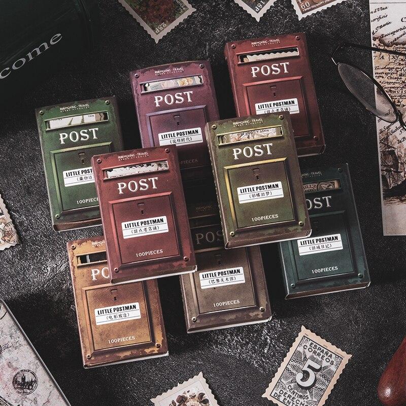 Journamm 100 sztuk Vintage znaczki rolka do czyszczenia ubrań na telefon Deco Retro artykuły biurowe Bullet Journal naklejki na etykiety Scrapbooking