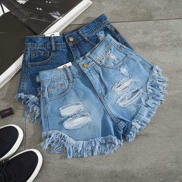 Fashion Women Short Jeans 2020 Summer Women High Waist Denim Shorts Frayed Hole Female Super Cool Flash Shorts Women