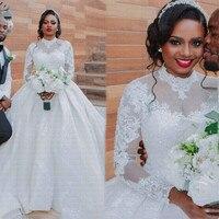 New African Ball Gown Wedding Dress 2021 Long Sleeves Arabic High Neck Wedding Gowns
