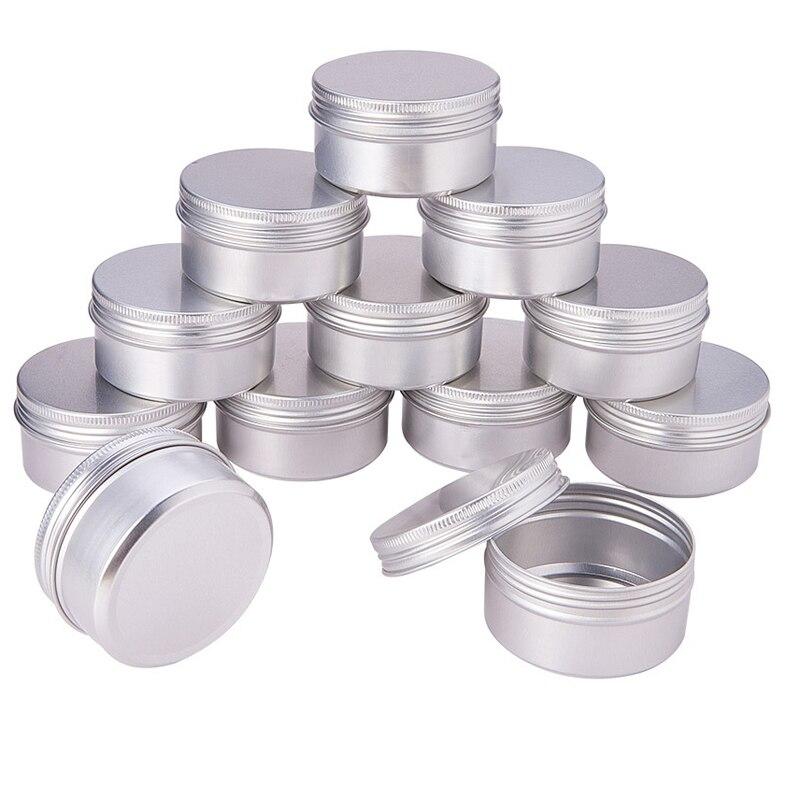 100Pcs 5g 10g 15g Aluminum Refillable Containers Empty Cosmetic Silver Box Screw Jar Portable Travel Tin Cream Lip Balm Box