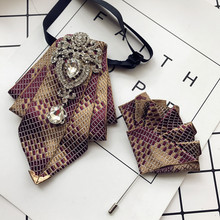 High-end New Rhinestone Bowties Brooch Korean Gentleman Dress White Shirt Wedding Bow Tie Set for Men Accessories Pocket Square