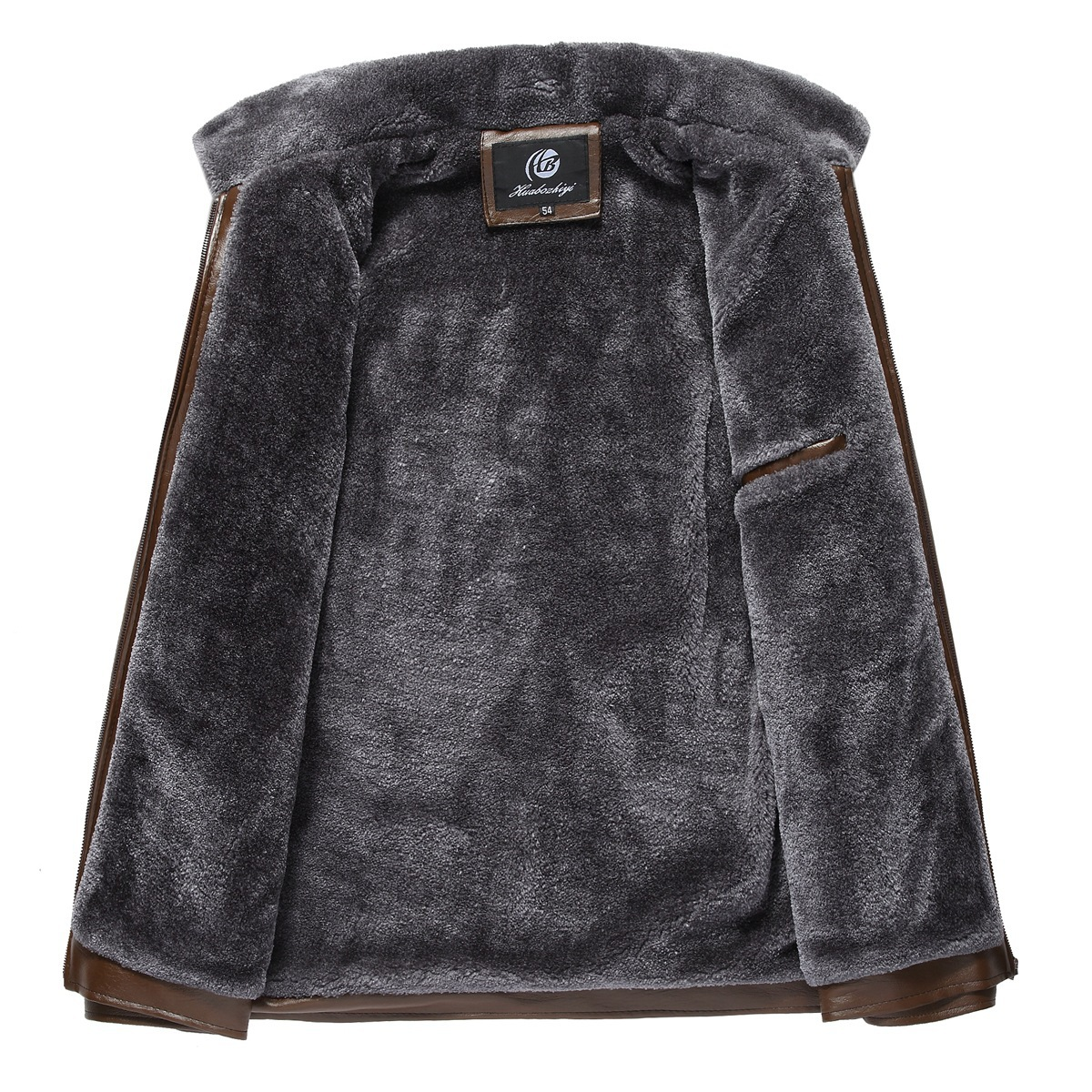 New Style Middle-aged Business Leather Coat Men PU Leather Fur Jacket Brushed And Thick Wander Source Winter