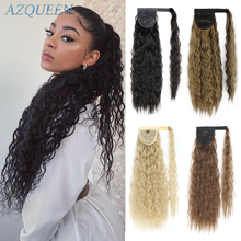 Long Curly Ponytail Wrap Around Ponytail Clip in Hair Extensions Natural Hairpiece Headwear Synthetic Hair Brown Gray