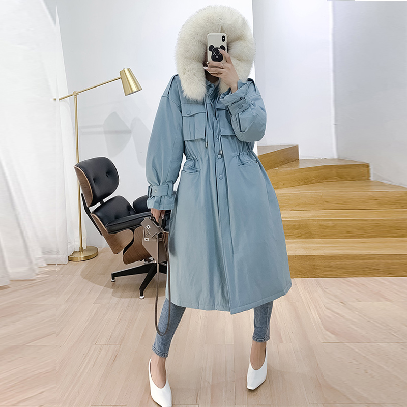 -30 Degree Windproof Women Winter   Coat   2019 Real Fox Fur Collar Duck   Down   Jacket Long   Down   Parka Hooded Female Thick Warm   Coats