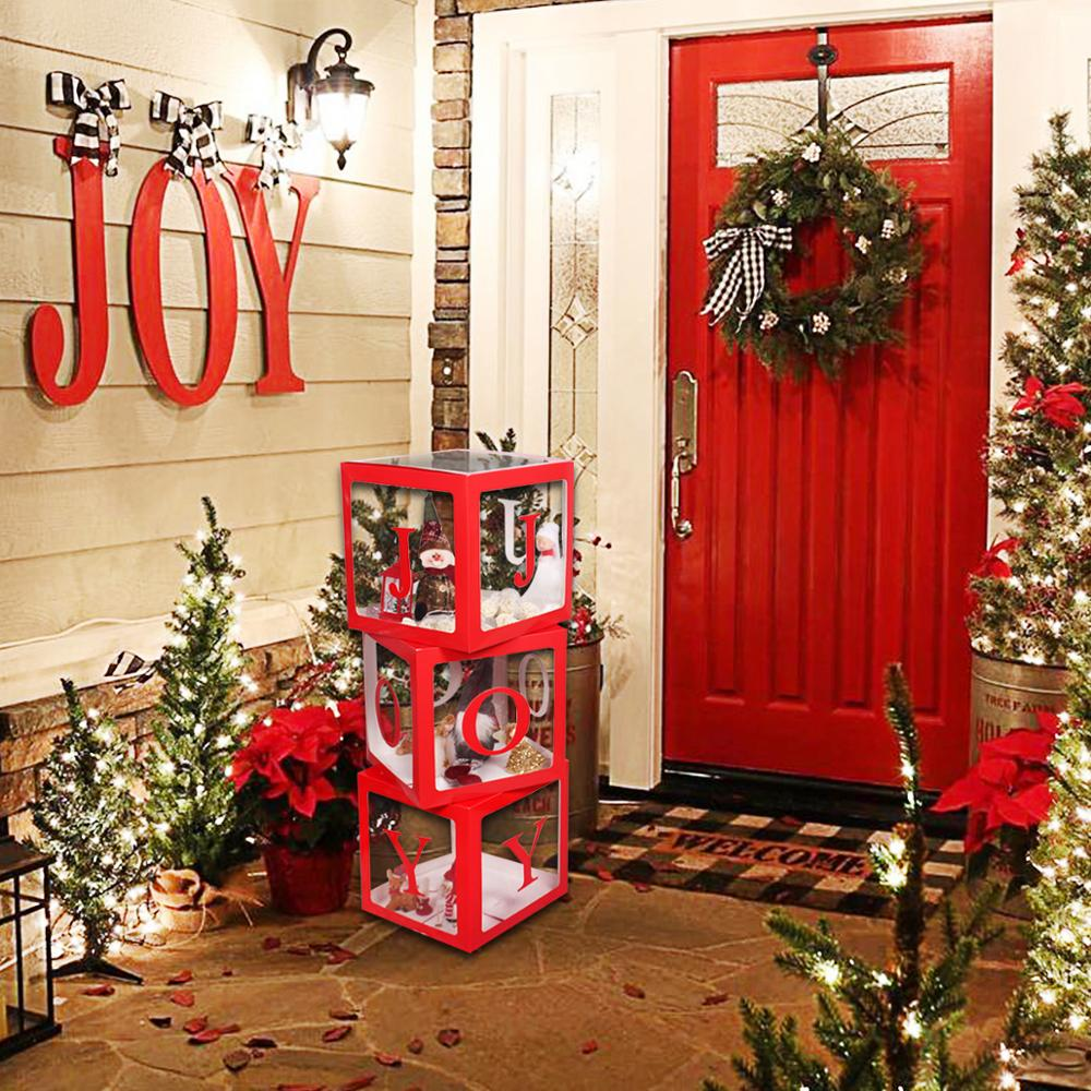 Merry Christmas Transparent Box Ornaments Christmas Decor For Home Cristmas Tree Toy Navidad 2019 New Year Gifts Deco Noel Natal